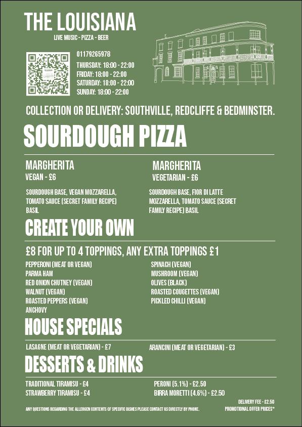 Sourdough Pizza Menu