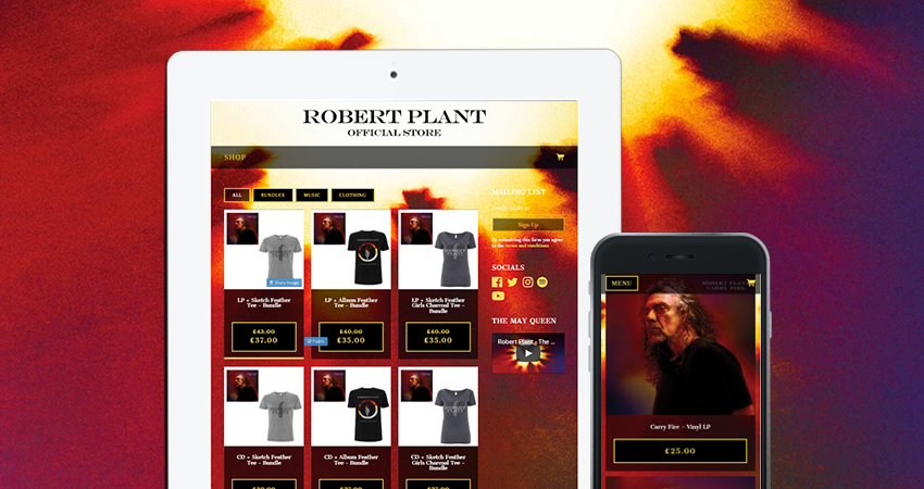 Robert Plant official store on Music Glue